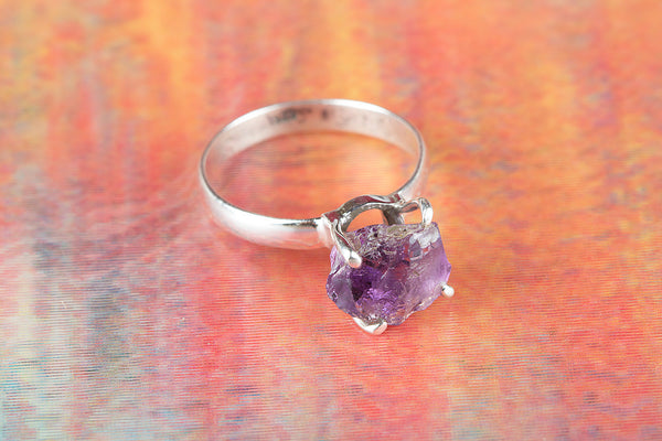 Beautiful Amethyst Rough Gemstone Sterling Silver Ring,