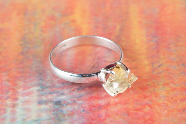Wonderful Citrine Rough Gemstone Sterling Silver Ring,