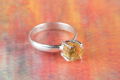 Amazing Citrine Rough Gemstone Sterling Silver Ring