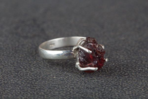 Beautiful Garnet Rough Gemstone Sterling Silver Ring,