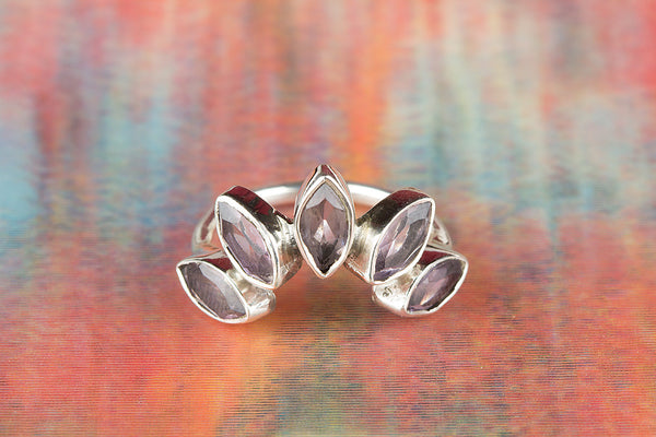 Faceted Amethyst Gemstone Sterling Silver Ring,