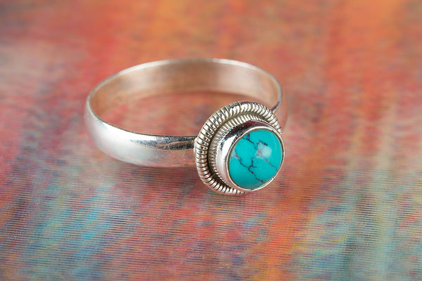 Turquoise Gemstone Sterling Silver Ring,