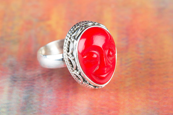 Face Shape Coral Gemstone Sterling Silver Ring,