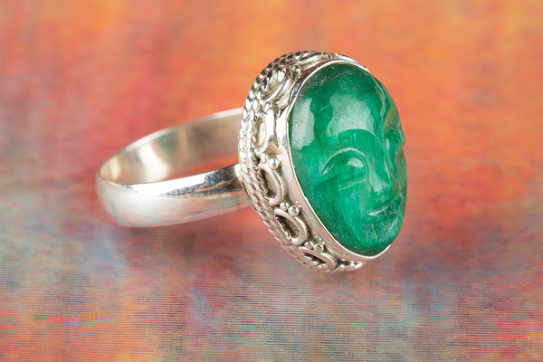 Face Shape Emerald Gemstone Sterling Silver Ring,