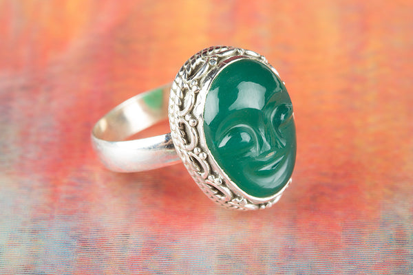 Face Shape Green Onyx Gemstone Sterling Silver Ring,