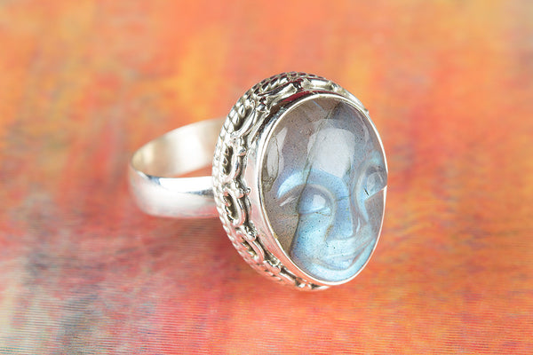 Face Shape Labradorite Ring, 925 Sterling Silver, Antique Gypsy Ring, tatement Ring, Unique Stylish Ring, Attractive Ring, Victorian Ring, Latest Modern Ring, Gypsy Ring, love Ring, pretty Ring,promise ring, Propose Ring, Gift Wife