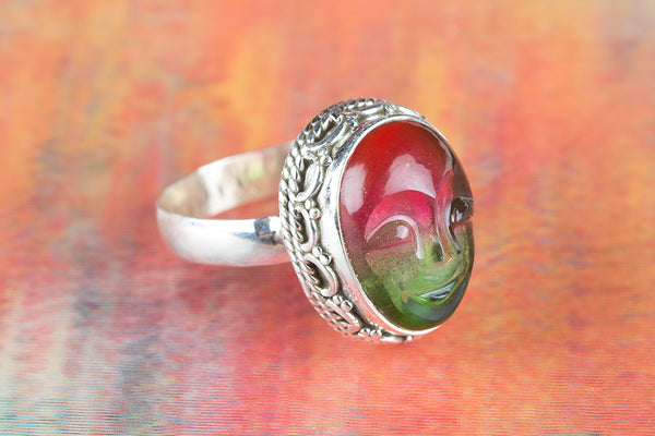 Face Shape Pink Tourmaline Gemstone Sterling Silver Ring,