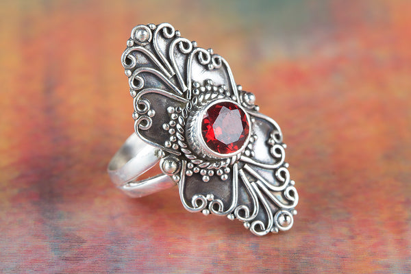 Long Shape Garnet Gemstone Sterling Silver Ring,