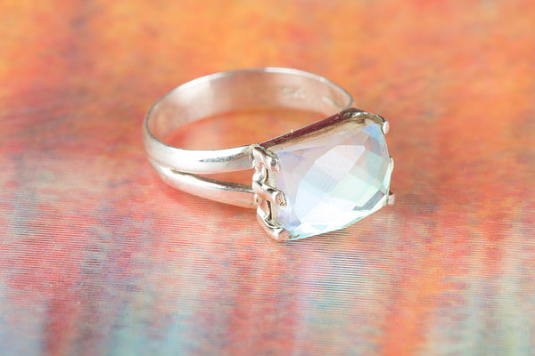 Fire Opal Lab Gemstone Sterling Silver Ring,