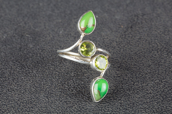 Green Turquoise & Peridot Gemstone Sterling Silver Ring,