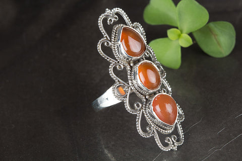 Beautiful Carnelian Gemstone Sterling Silver Ring,