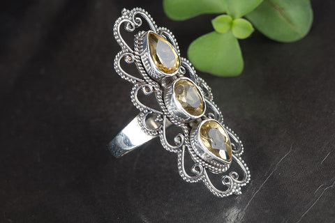 Beautiful Faceted Citrine Gemstone Sterling Silver Ring,