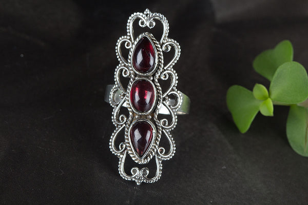 Beautiful Faceted Garnet Gemstone Sterling Silver Ring,
