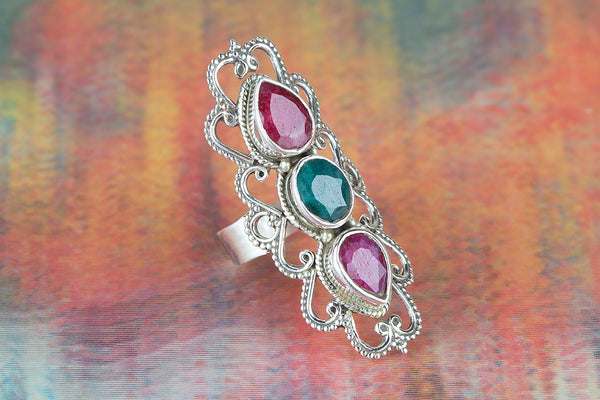 Ruby & Emerald Gemstone Sterling Silver Ring