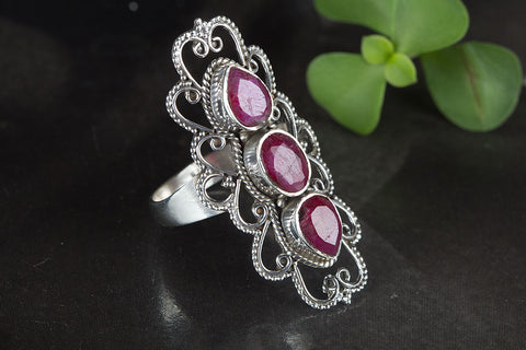 Amazing Ruby Gemstone Sterling Silver Ring,