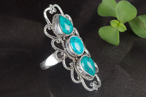 Amazing Tibetan Turquoise Gemstone Sterling Silver Ring, Unique Long Ring..Statement Ring..Everyday Ring..Engagement Ring..Gift Wife