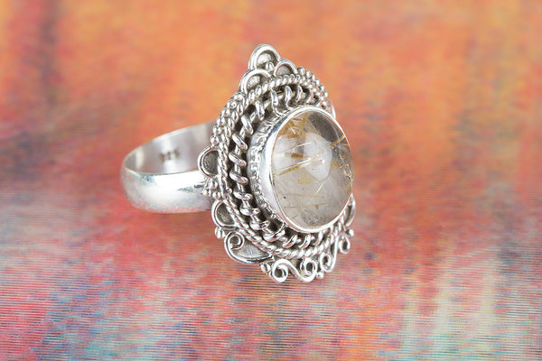 Golden Rutile Gemstone Sterling Silver Ring,