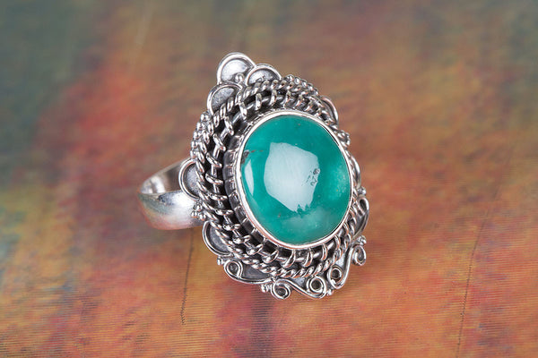 Gorgeous Natural Turquoise Gemstone Sterling Silver Ring,