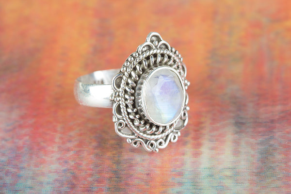 Faceted Rainbow Moonstone Gemstone Sterling Silver Ring,