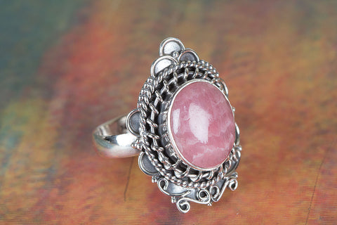 Amazing Rhodochrosite Gemstone Sterling Silver Ring