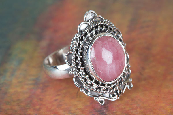 Lovely Rhodochrosite Gemstone Sterling Silver Ring