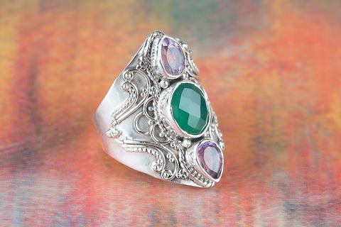 Wonderful Green Onyx Gemstone Pure Sterling Silver Ring