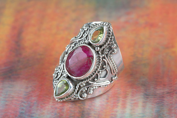 Ruby Ring, 925 Sterling Silver Ring, Traditional Gift Ring, Birthstone Charm Ring, Handmade Ring, Vintage Ring, Wedding Ring, Birthday Gift, Mermaid Jewelry, Unique Ring, Gift For Her