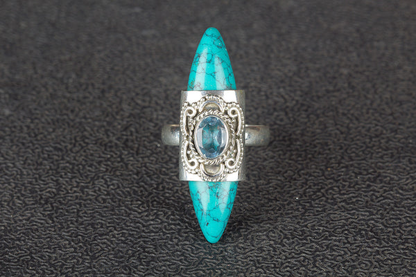 Turquoise & Blue Topaz Gemstone Sterling Silver Ring,