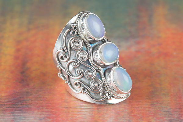 Ethopian Opal Gemstone Sterling Silver Ring,