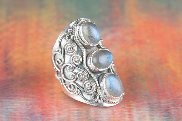 Labradorite Ring, 925 Sterling Silver, Long Three Stone Ring, Petite Gypsy Ring, Victorian Ring, Elegant Ring, Wide band Ring, Bridal Ring, Purpose Ring, Gift Her.