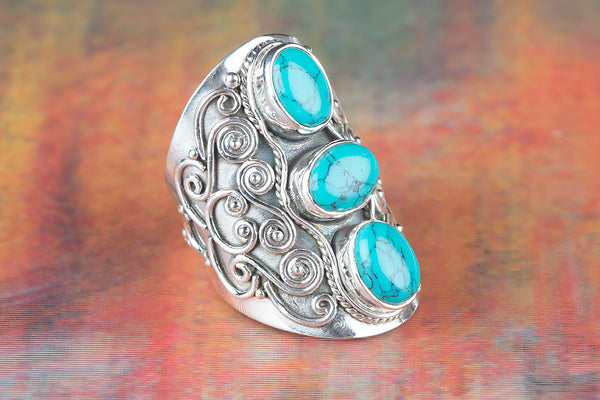 Turquoise ring, 925 Sterling Silver, Antique Ring, Modern Design Ring, Victorian Style Ring, Gypsy Ring, Long Ring, Stylish Wedding Ring, Wide Band Ring, Gift