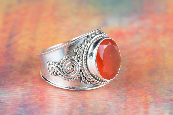 Carnelian Gemstone Silver Ring,