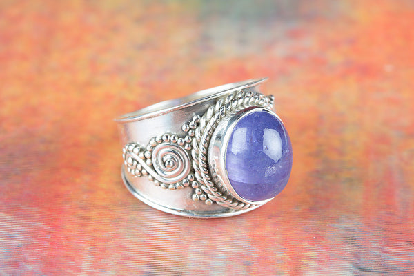 Tanzanite Gemstone Sterling Silver Ring,