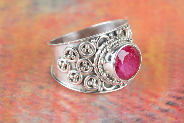 Ruby Ring, 925 Sterling Silver Ring, genuine dark ruby ring, Round ruby ring, ruby and silver, anniversary gift