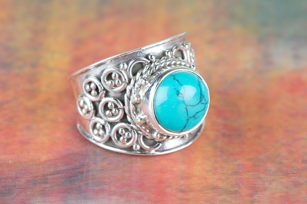 Turquoise ring, 925 Sterling Silver, Boho Ring, Wide Band Ring, Statement Ring, Antique Designer Ring, Modern Gypsy Ring, Unique Wedding Ring, Promise Ring