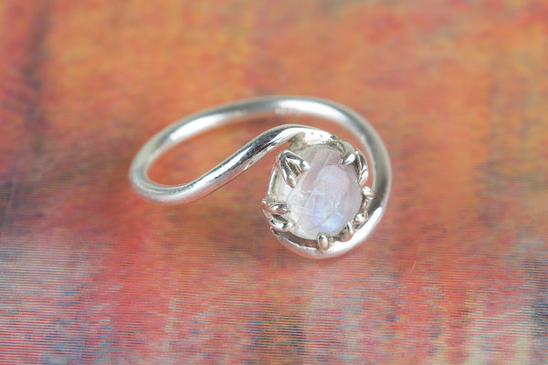Rainbow Moonstone Gemstone Sterling Silver Ring