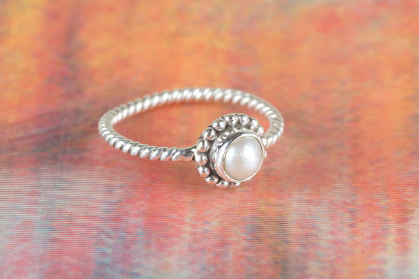 Pearl Gemstone Sterling Silver Ring,