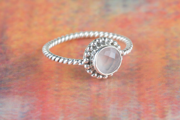 Faceted Rose Quartz Gemstone Sterling Silver Ring,
