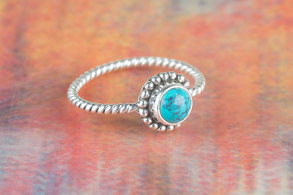 Turquoise Ring, 925 Sterling Silver, Dainty Ring, Twisted Band Ring, Bridal Jewelry, Antique Design Ring, Purpose Ring, Love Ring, Delicate Ring, Gift For Her