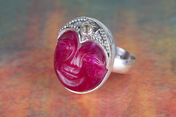 Face Shape Ruby & Citrine Gemstone Sterling Silver Ring,