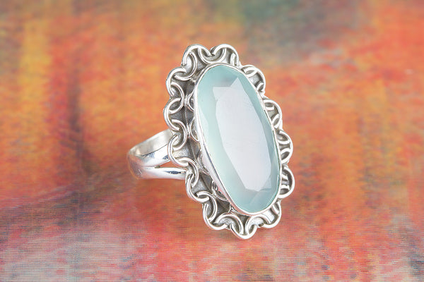 Wow Faceted Aqua Chalcedony Gemstone Silver Ring
