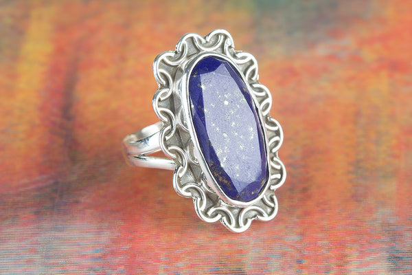 Wow Faceted Lapis Lazuli Gemstone Silver Ring