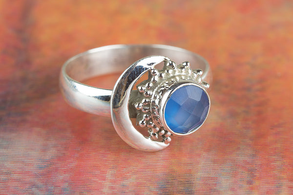 Wow Blue Chalcedony Gemstone Silver Ring