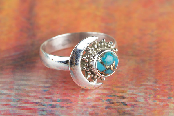 Wow Blue Turquoise Gemstone Silver Ring