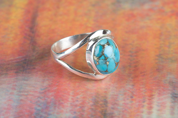Precious Blue Copper Turquoise Gemstone Silver Ring