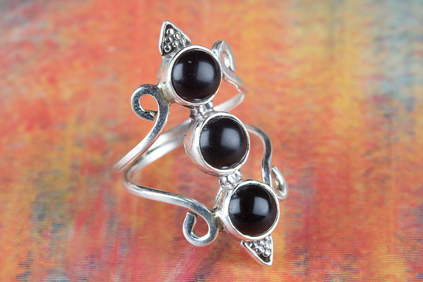 Wonderful Black Onyx Gemstone Silver Ring