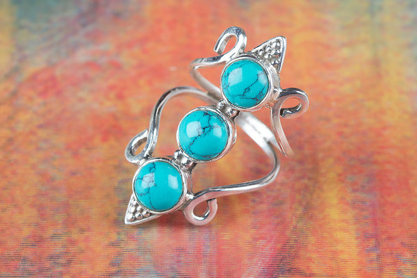 Turquoise Ring 925 Silver Attractive Ring Modern Ring Healing Ring Meditation Ring Classic Design Ring Victorian Ring Long Ring  Statement Ring Bridesmaid Ring stylish Ring Anniversary Ring Gift Her.
