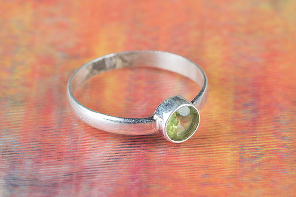 Peridot Gemstone Sterling Silver Ring,