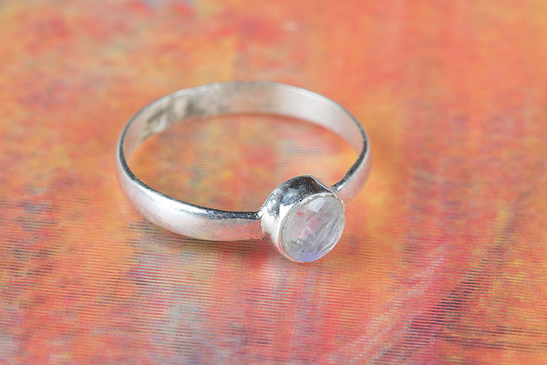Rainbow Moonstone Gemstone Ring, 925 Sterling Silver, Women Fashion Ring, Engagement Ring, Bohemian Gift Ring, Gift For Her