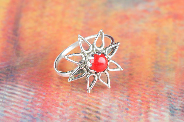 Star Shape Coral Gemstone Silver Ring